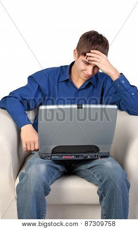 Stressed Teenager With Laptop