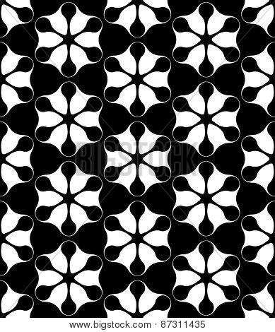Seamless Flower Pattern. Vector Monochrome Texture