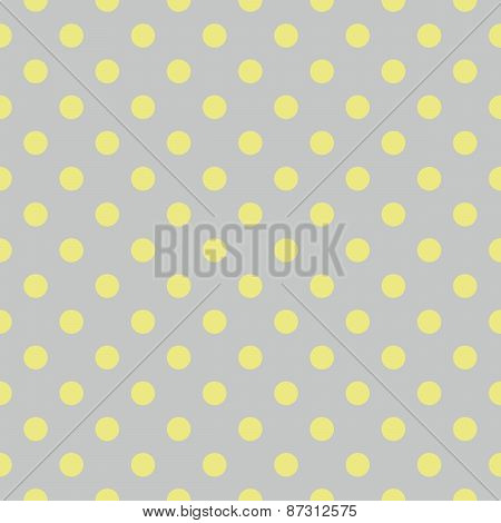 Tile vector pattern with yellow green polka dots on grey background