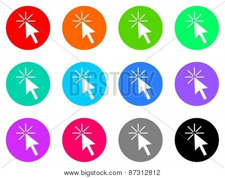 click colorful vector flat icon set