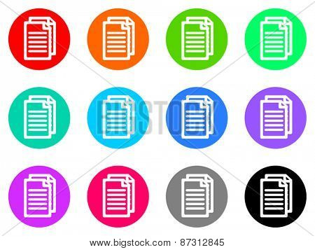 document colorful vector flat icon set