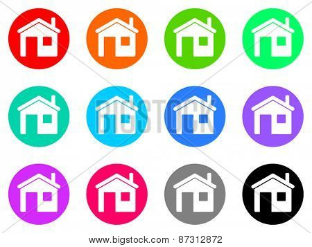 house colorful vector flat icon set
