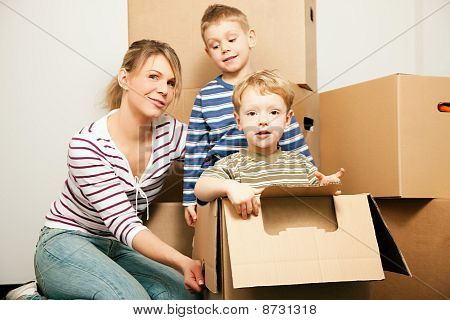 Family moving in their new house
