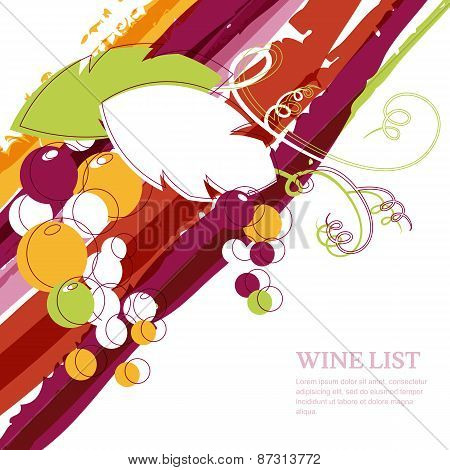 Branch Of Grape On Marsala Stripes Watercolor Background. Abstract Vector Design Template With Place