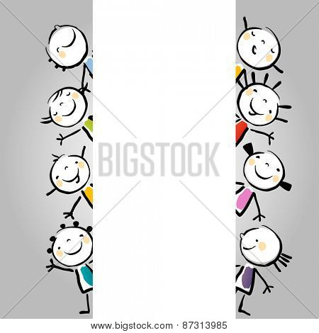Little happy kids holding a blank placard, vertical empty banner, with copy space. Vector illustration, doodle, sketch style.