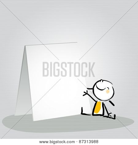 Happy little girl, kid with a blank placard, smiling. Vector doodle style sketchy illustration.