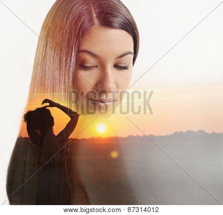 Double Exposure Of Beautiful Woman And Sundown Evening Glow