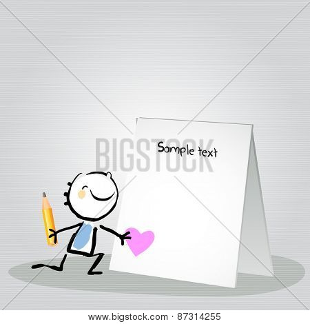 Little boy with a blank love letter. Happy kids vector doodle style sketchy  illustration, line art.