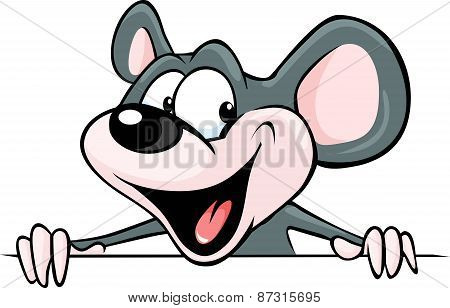 Funny Mouse Peeking From Behind A White Surface - Vector Illustration
