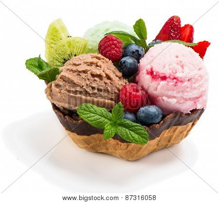 Berry And Chocolate Ice Cream With Fresh Fruits