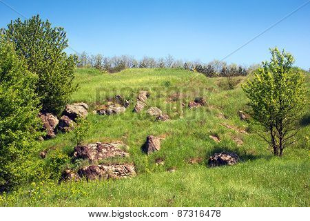 Landscape Of A Green Grassy Hills With Stones And Trees