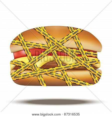 fast food burger with danger warning tapes