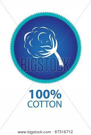 100% Cotton Logo or Icon