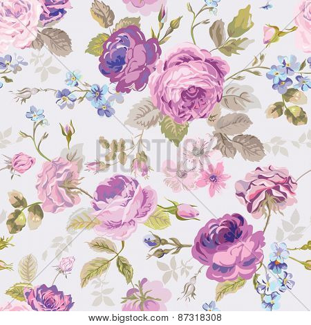 Spring Flowers Background - Seamless Floral Shabby Chic Pattern - in vector