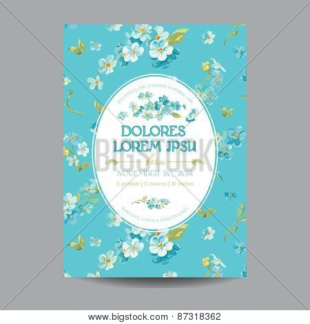 Baby Arrival or Shower Card - with Floral Blossom Design - in vector