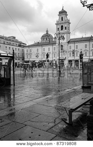 Parma city centre, raining day. Color image