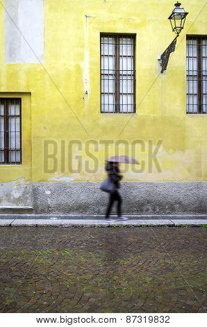 Italian old city centre, raining day. Color image