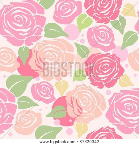 Seamless Pattern With Pastel Roses