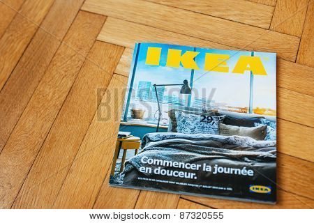 Ikea Catalog On Wooden Floor