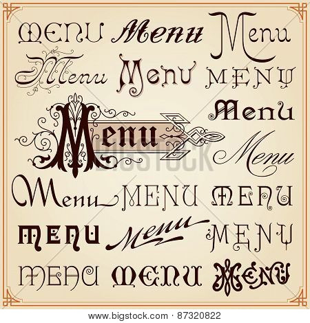Menu Vintage Calligraphic Letterings Texts