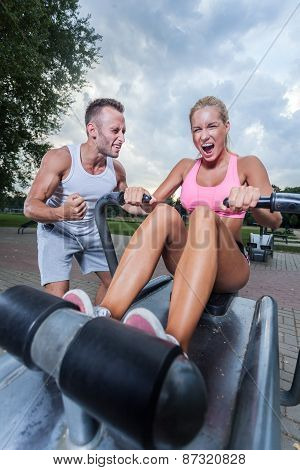 Intensive Workout With Sport Instructor