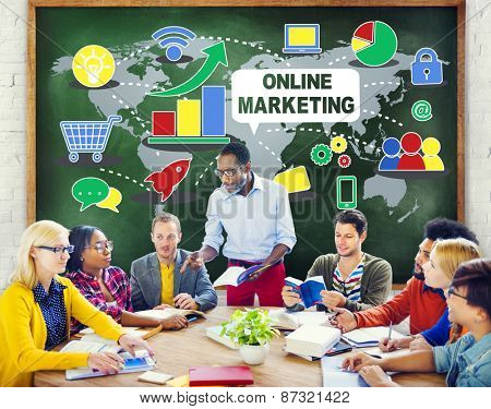 Online Marketing  Global Business Teamwork Meeting  Concept
