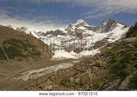 Looking Up A Glacial Valley In The Andes