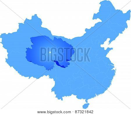 Map Of People's Republic Of China - Qinghai Province