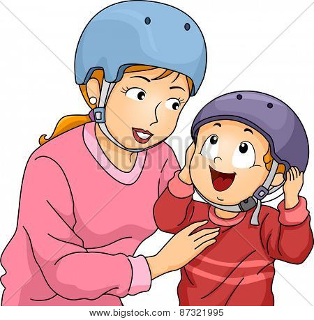Illustration of a Mother Helping Her Little Son to Put on His Helmet