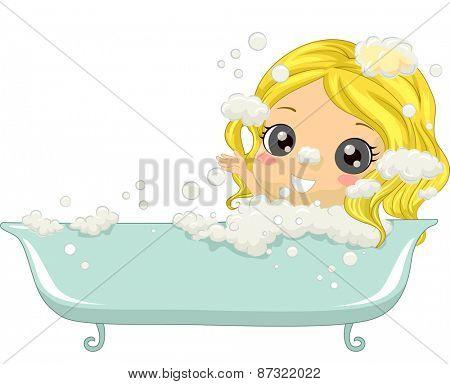 Illustration of a Little Girl Enjoying a Bubble Bath
