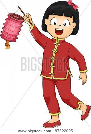 Illustration of a Little Girl Dressed in a Chinese Costume Carrying a Paper Lantern