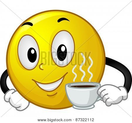 Mascot Illustration of a Smiley Holding a Cup of Hot Coffee