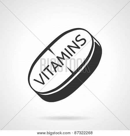 Sports vitamins black vector icon
