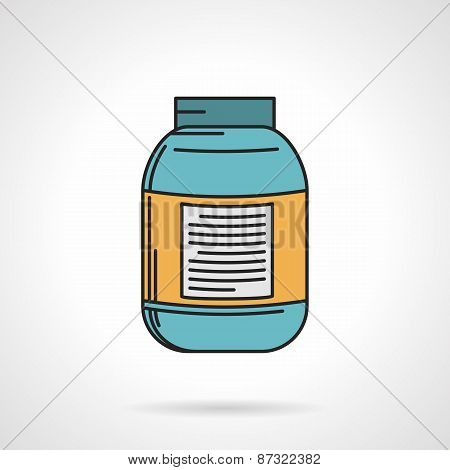 Creatine jar flat vector icon