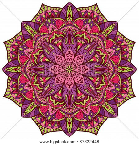 Vector, Bright, Colorful Mandala.