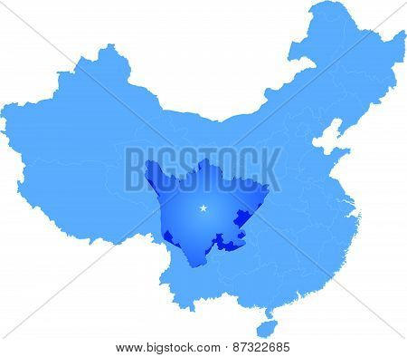Map Of People's Republic Of China - Sichuan Province