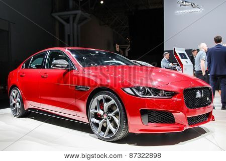 NEW YORK - APRIL 1: Jaguar exhibit Jaguar XE at the 2015 New York International Auto Show during Press day,  public show is running from April 3-12, 2015 in New York, NY.
