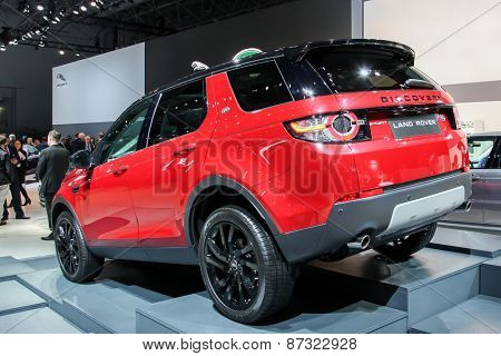 NEW YORK - APRIL 1: Land Rover exhibit Discovery Sport at the 2015 New York International Auto Show during Press day,  public show is running from April 3-12, 2015 in New York, NY.