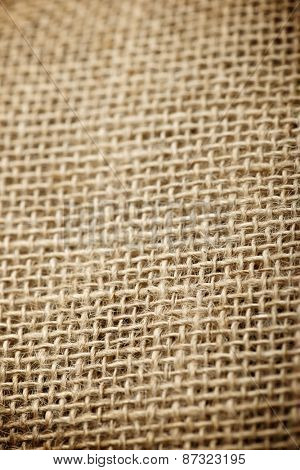 Close up of natural burlap hessian sacking.