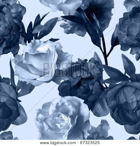 art vintage monochrome watercolor floral seamless pattern with dark grey blue peonies and white roses isolated on white background