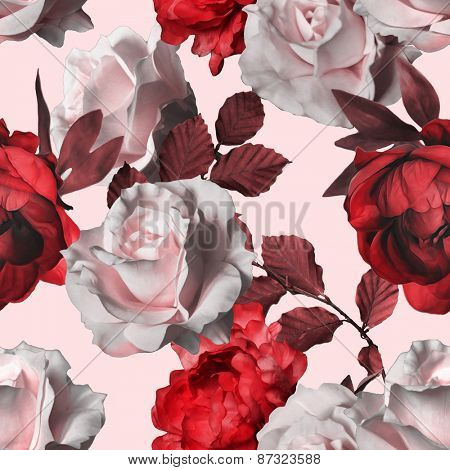 art vintage red monochrome watercolor floral seamless pattern with white roses and red peonies on white rose background