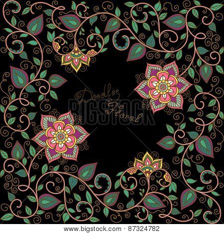 vector floral pattern on the black background