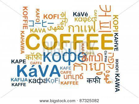 Background concept wordcloud multilanguage international many language illustration of translation coffee