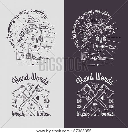 Trendy Retro Vintage Insignias - Badges vector set with the skull.