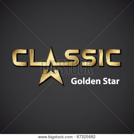 vector classic golden star inscription icon