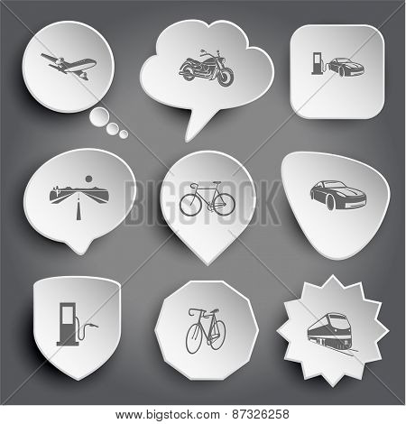 airliner, motorcycle, car fueling, road, bicycle, fueling station, train. White raster buttons on gray.
