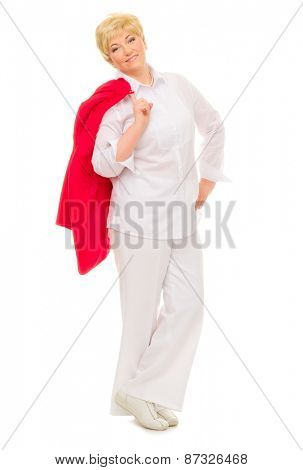 Happy senior woman isolated on white