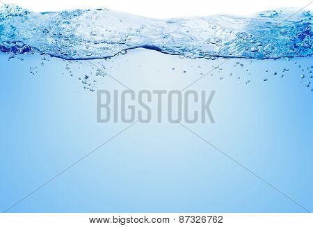 Blue water and air bubbles in the pool over white background with space for text