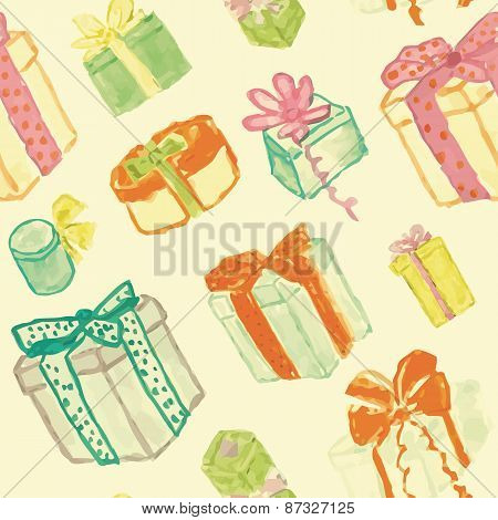 Seamless texture with hand drawn watercolor gift boxes