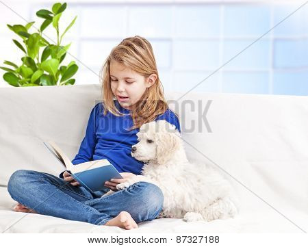 Girl and puppies